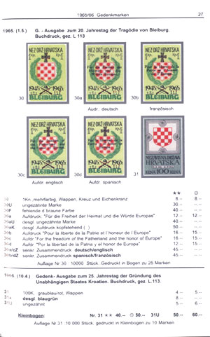 Example page from Oparic: the Bleiburg stamps