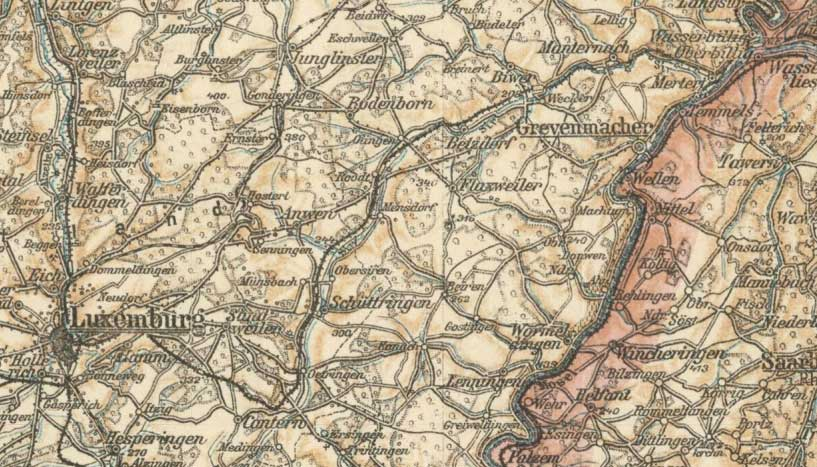 The area to the east of Luxemburg town before 1914.