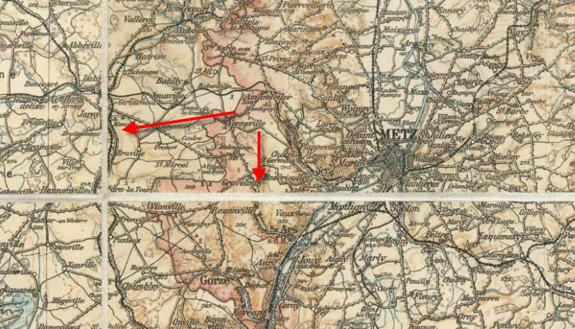 The area around Verdun. The white lines are the linnen fold lines.