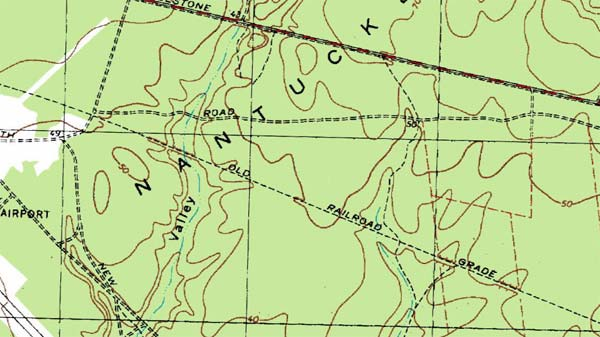 The railroad grade as shown on a USGS map