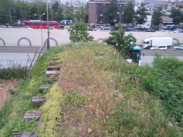 Standing on top of the same track bed, looking into Suwon. On the other side of the road the track bed has been destroyed (lowered), but it is possible to walk the whole length, it is now part of a foot path.