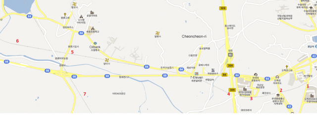 Map view between Omokcheon and the high speed railway line.