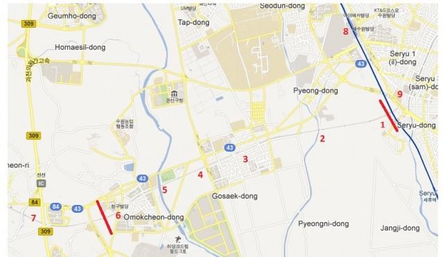 Google Map of Suwon to Omokcheon.