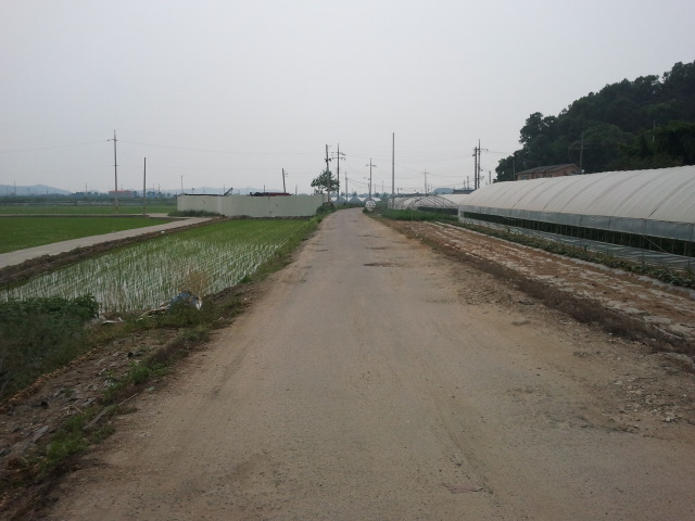 Just after this point야목역 (Yamog Station) will be constructed. In Yamog the railway has been turned into a local road.