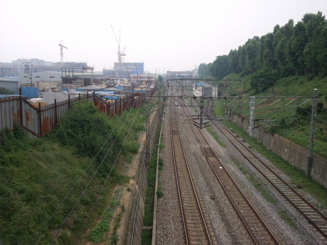 View from the overpass towards Ansan station.